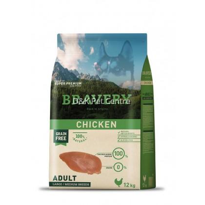BRAVERY GRAIN FREE CHICKEN LARGE/MEDIUM DOG FOOD 12KG+EXTRA 3KG