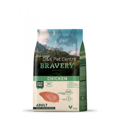 BRAVERY GRAIN FREE CHICKEN LARGE/MEDIUM DOG FOOD 4KG