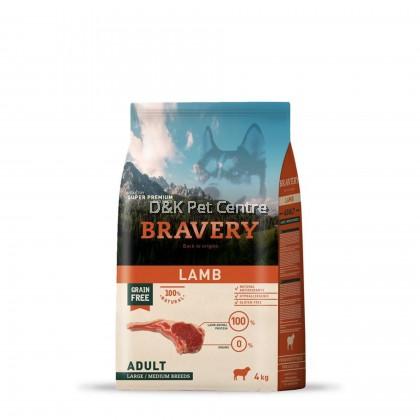 BRAVERY LAMB GRAIN FREE ADULT LARGE/MEDIUM DOG FOOD 4KG