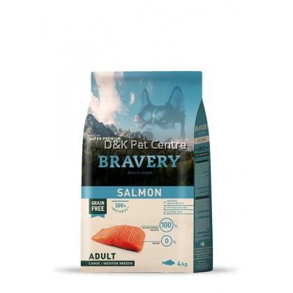 BRAVERY SALMON GRAIN FREE ADULT LARGE/MEDIUM DOG FOOD 4KG
