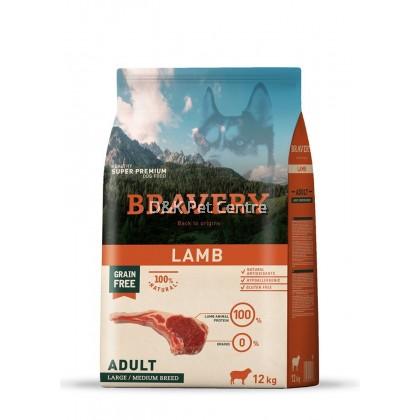 BRAVERY LAMB GRAIN FREE ADULT LARGE/MEDIUM DOG FOOD 12KG+EXTRA 3KG
